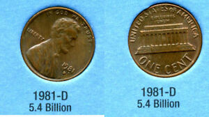 1981 D ABE LINCOLN MEMORIAL AMERICAN PENNY 1 CENT US U.S AMERICA ONE COIN B1