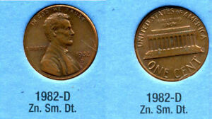 1982 D LINCOLN MEMORIAL SMALL DATE ZINC PENNY 1 CENT US AMERICA ONE COIN B1