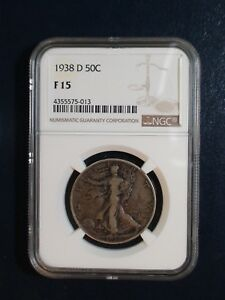 1938 D WALKING LIBERTY HALF NGC F15 SEMI KEY SILVER 50C COIN PRICED TO SELL