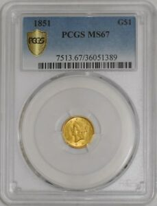 Click now to see the BUY IT NOW Price! 1851 $ GOLD LIBERTY DOLLAR 938248 3 MS67 SECURE PLUS PCGS