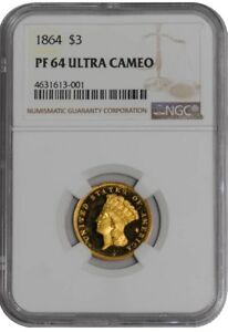 Click now to see the BUY IT NOW Price! 1864 $3 GOLD INDIAN 939185 4 PR64 ULTRA CAMEO NGC
