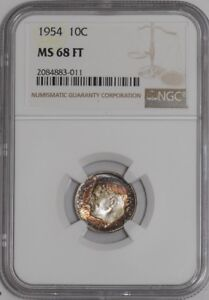 Click now to see the BUY IT NOW Price! 1954 ROOSEVELT DIME 10C 938971 1 MS68 FT NGC