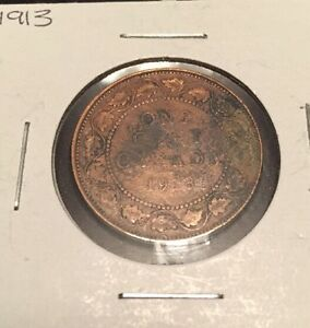 1913 CANADIAN LARGE CENT GOOD CONDITION
