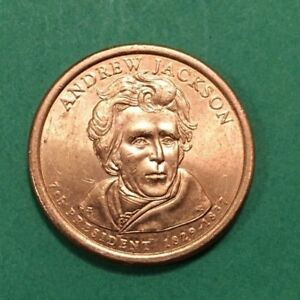 2008 D ANDREW JACKSON DOLLAR COIN POSITION A EDGE LETTERING AU CONDITION