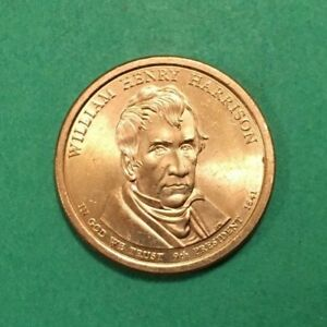 2009 D WILLIAM HENRY HARRISON DOLLAR COIN POSITION A EDGE LETTERING AU CONDITION