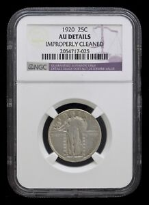1920 STANDING LIBERTY QUARTER 25   NGC AU DETAILS   IMPROPERLY CLEANED