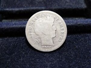 1912 D BARBER SILVER DIME IN GOOD CONDITION  J 18 18