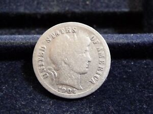 1904 BARBER SILVER DIME IN GOOD CONDITION  J 18 18