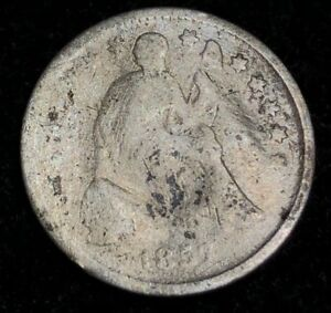 1857 SEATED LIBERTY HALF DIME IN ARCHIVAL SAFE COIN CAPSULE