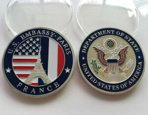 US EMBASSY PARIS DEPARTMENT OF STATE COMMEMORATIVE    ALLOY    NEW NO TAX