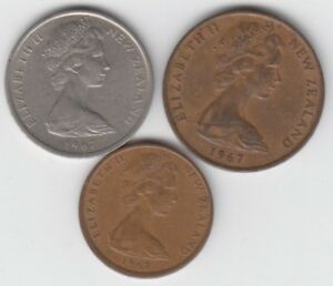 NEW ZEALAND 1967 5 CENTS  2 CENTS 1 CENT LOT OF 3