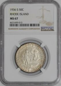 Click now to see the BUY IT NOW Price! 1936 S RHODE ISLAND 50C 939459 66 MS67 NGC