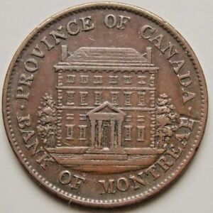 1844 BANK OF MONTREAL HALF PENNY TOKEN COIN.  PROVINCE OF CANADA. VG CONDITION.