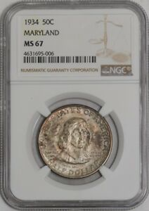 Click now to see the BUY IT NOW Price! 1934 MARYLAND 50C 939459 54 MS67 NGC