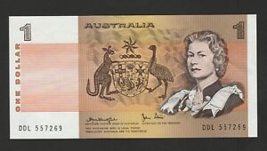 AUSTRALIA 1 DOLLAR BANKNOTE 1983 ABOUT UNCIRCULATED CONDITION CAT42 D