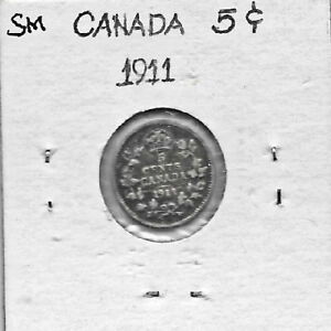 CANADIAN 1911   5 CENTS .925 SILVER