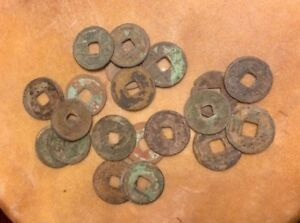 ANCIENT SHIPWRECK COINS CACHE OFF INDONESIAN COAST 5 ASIAN PIECES AUTHENTIC