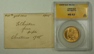 Click now to see the BUY IT NOW Price! 1908 NO MOTTO INDIAN GOLD EAGLE TEN DOLLAR $10 COIN ANACS MS 62 JMX