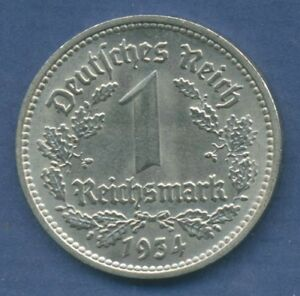 DEUTSCHES REICH 1 MARK 1934 D KURSMNZE NICKEL J 354 VZ  M1628