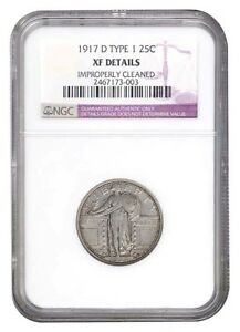 1917 D TYPE 1 STANDING LIBERTY QUARTER NGC EXTRA FINE  DETAILS  NICE TYPE COIN
