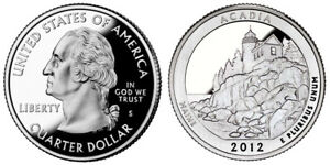 2012 S GEM BU PROOF ATB ACADIA NATIONAL PARK STATE QUARTER COIN PF