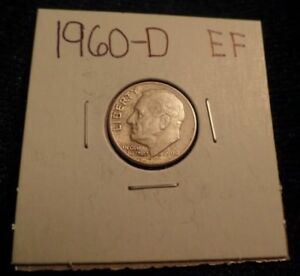 648 LY FINE ROOSEVELT SILVER DIME 1960 D XF EF