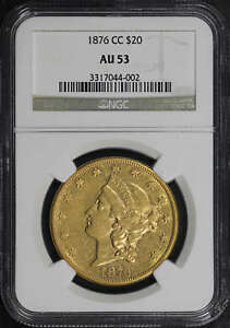 1876 CC LIBERTY HEAD GOLD $20 DOUBLE EAGLE NGC AU 53  122284