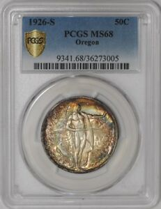 Click now to see the BUY IT NOW Price! 1926 S OREGON 50C 938572 17 MS68 COLOR SECURE PLUS PCGS