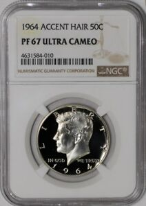 Click now to see the BUY IT NOW Price! 1964 KENNEDY HALF 50C ACCENT HAIR 938575 58 PF67 ULTRA CAMEO NGC