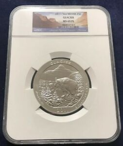 2011 ATB 5 OUNCE SILVER COIN GLACIER NATIONAL PARK NGC MS69PL
