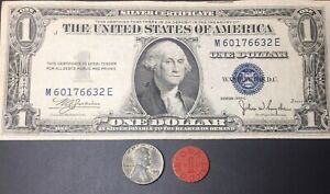 OLD US COIN LOT: SILVER CERTIFICATE STEEL PENNY OPA RED POINT RATION TOKEN