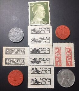 WWII COIN AND STAMP LOT: RATION STAMPS/TOKENS REICHSPFENNIG STEEL PENNY HITLER