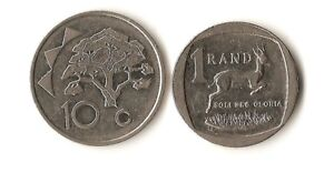 TWO AFRICA COINS NAMIBIA 10 CENTS 1993 SOUTH AFRICA 1 RAND 2014