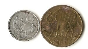 TWO ETHIOPIA COINS 1 AND 10 SANTEEM LION OF JUDAH