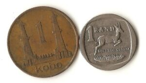 TWO AFRICA COINS NIGERIA 1 KOBO 1973 SOUTH AFRICA 1 RAND 2007