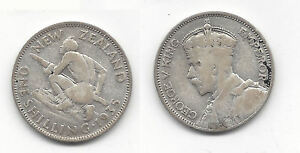 1935 NEW ZEALAND SILVER SHILLING COIN  K1781