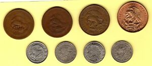 MEXICO 8 DIFFERENT 20 CENTAVOS COINS 1944 1982