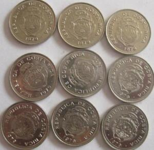 COSTA RICA LOT OF 9 BU COINS 10 CENTIMOS MIXED DATE MOSTLY 1979 40