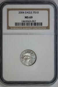2004 PLATINUM AMERICAN EAGLE MS69 NGC US MINT $10 LIBERTY COIN