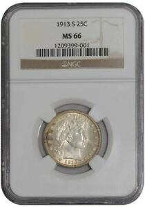 Click now to see the BUY IT NOW Price! 1913 S BARBER QUARTER 25C 941271 6 MS66 NGC