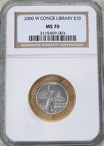 Click now to see the BUY IT NOW Price! 2000 W LIBRARY OF CONGRESS $10 PLATINUM / GOLD  NGC MS 70