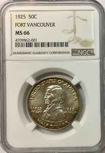 1925 50C FORT VANCOUVER SILVER COMMEMORATIVE NGC MS66
