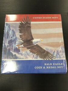 2008 P U. S. MINT BALD EAGLE SILVER DOLLAR $1 COIN AND BRONZE MEDAL SET SEALED