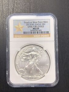 2013 W  SILVER AMERICAN SILVER EAGLE   NGC MS 69 WEST POINT STAR LABEL 005