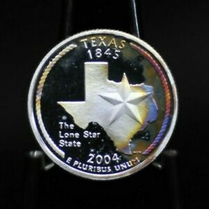 2004 S CHOICE PROOF SILVER RAINBOW TONED TEXAS STATE QUARTER [03DUD]