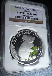 Click now to see the BUY IT NOW Price! 2005 PLATINUM AUSTRALIA $200 KOALA 2 OZ NGC PF 69 ULTRA CAMEO MINTAGE OF 91
