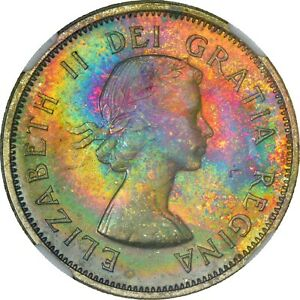 Click now to see the BUY IT NOW Price! 1964 NGC MS65 CANADIAN QUARTER   NEON ELECTRIC GLOWING RAINBOW TONES