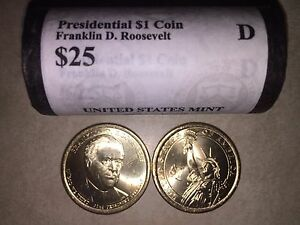 HEAD/TAIL  2014 D MINT FRANKLIN D. ROOSEVELT PRESIDENTIAL $25 DOLLAR ROLL