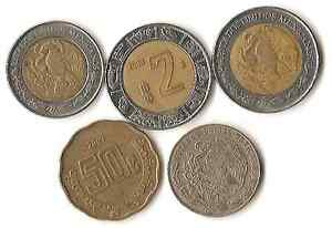 LOT OF FIVE MEXICO COINS DATED 1976  2007 2 PESOS THROUGH 20 CENTAVOS