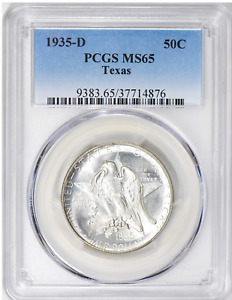 1935 D TEXAS  COMMEMORATIVE SILVER HALF DOLLAR     PCGS MS 65    FLASHY WHITE